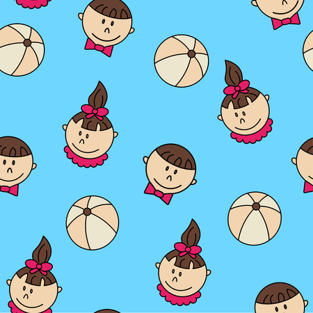 child care: Child and baby cute seamless pattern. Kindergarten vector illustration