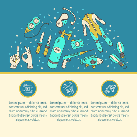 air gauge: Vector card with diving equipment. Diving line icons of scuba, oxygen balloon, diver knife, harpoon, spear gun, gauge, camera. Diving web template. Illustration
