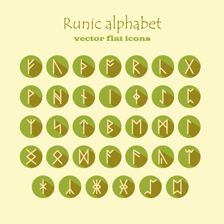 rune: Set of Old Norse Scandinavian runes in modern flat style with long shadows. Rune alphabet. Vector