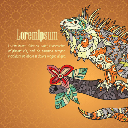 Hand drawn card with iguana. Ethnic tribal styled pattern with space for your text.
