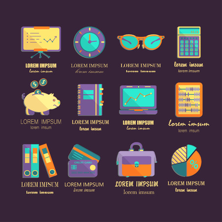 Bookkeeping vector flat icons. Finance, accounting and auditing, economic, business symbols. Business illustration. Illustration
