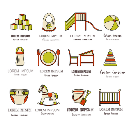 horse care: Child and baby care center color thin line icons. Kindergarten vector  . Diaper, sandpit, slide, horse, ball, bottle, crib, pacifier.