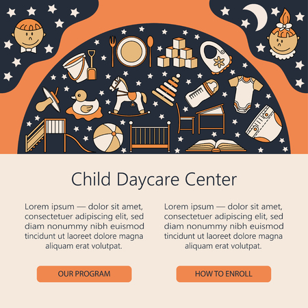 horse care: Child and baby care center web or card template with kindergarten vector  . Diaper, sandpit, slide, horse, ball, bottle, crib, pacifier. Illustration