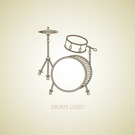 Drums  . Thin line vector icon with music instrument. Illustration