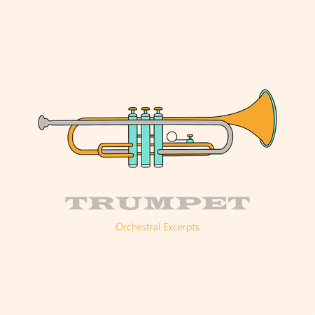wind instrument: Trumpet  . Thin line vector icon with music wind instrument.