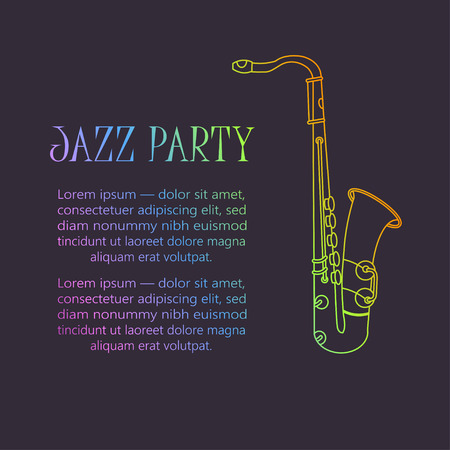 accords: Saxophone   Thin line vector icon with music wind instrument. Sax Illustration