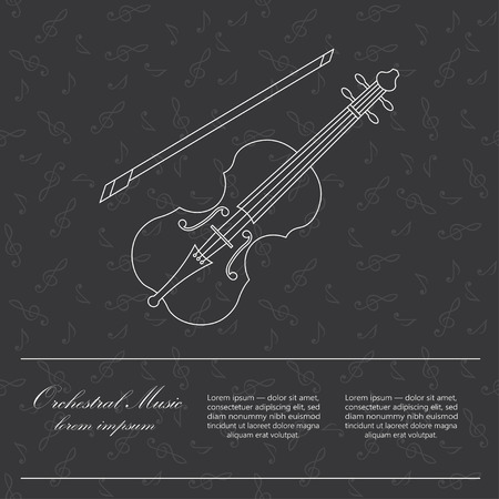 accords: Violin  . Thin line vector white icon with music instrument. Place for your text. Illustration