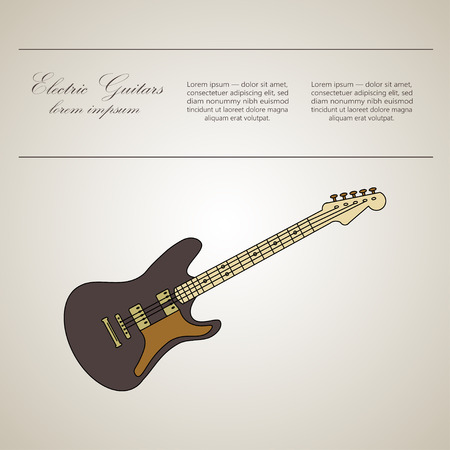 accords: Electric guitar  . Thin line vector icon with music instrument. Place for your text.