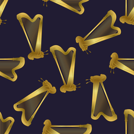 accords: Semless pattern with harp. Thin line vector golden illustration with music instrument. Seamless pattern with different music instruments. Vector