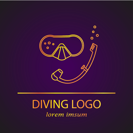 snorkelling: Vector diving logo. Thin line icon. Snorkelling diving
