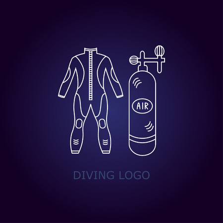 wet suit: Vector diving logo. Thin line icon. logo with a wet suit and oxygen tank. Illustration