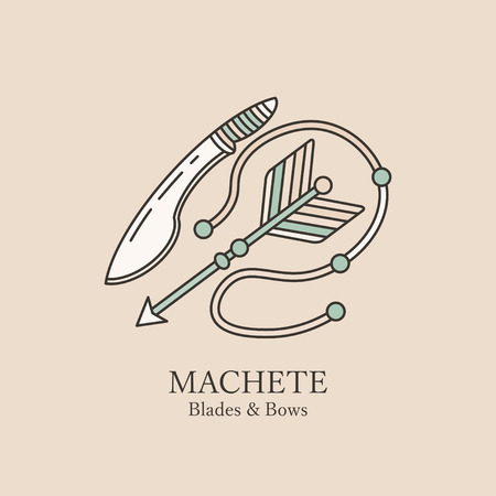 cold steel: machetes and arrow. Illustration