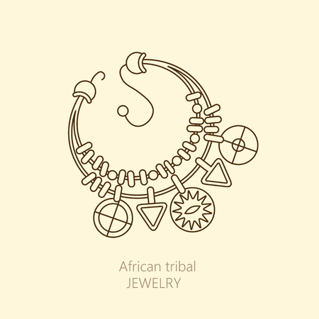 ceremonies: Vector  with national African necklace. Jewelry for magic ceremonies and decorations.
