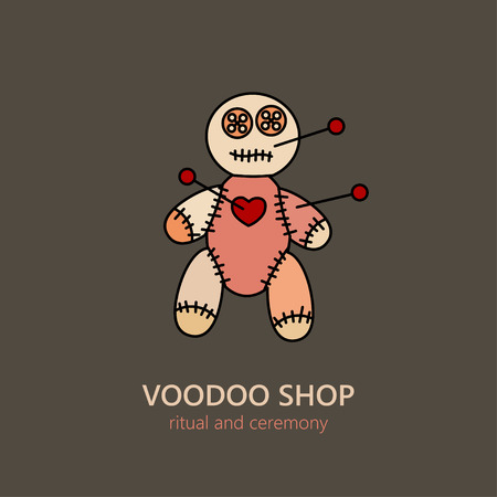 ceremonies: Vector voodoo doll  for religion and ceremonies. African souvenir and symbol of black magic. Illustration