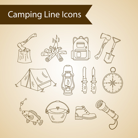 wood fire: Camping holiday vector line icons. Thin liner vector icons - wood, fire, kerosene lamp, lantern, tent, knife, backpack, fishing, compass, shoes.