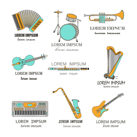 accords: Vector thin line music  synthesizer, drums, accordion, violin, trumpet, harp, drum, saxophone, electric guitar, flute.