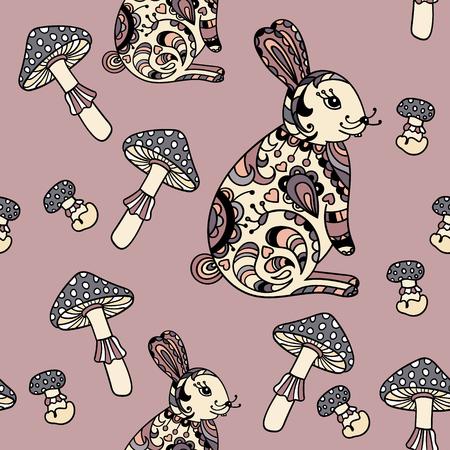 grebe: Seamless pattern with mushroom and bunny. Cute cartoon animal background. Boho striped. Vector Illustration