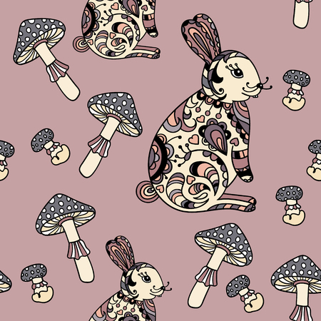 Seamless pattern with mushroom and bunny. Cute cartoon animal background. Boho striped. Vector Illustration