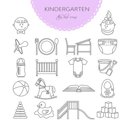 centros de cuidado del bebé del niño y los iconos de la forma. vector de jardín de infancia. Pañal, arenero, tobogán, caballo, bola, botella, cuna, chupete. Ilustración de vector