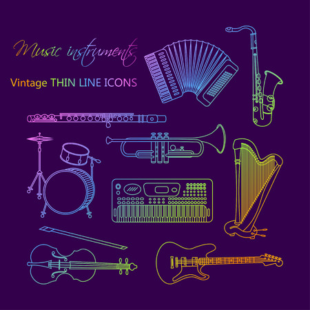 accords: Vector thin line icons with different music instruments synthesizer, drums, accordion, violin, trumpet, harp, drum, saxophone, electric, guitar, flute, piano Illustration
