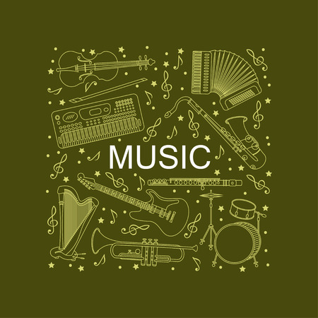 accords: Vector card with different music instruments synthesizer, drums, accordion, violin, trumpet, harp, drum, saxophone, electric, guitar, flute. Place for your text.