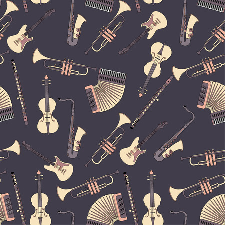 accords: Seamless pattern with different music instruments synthesizer, drums, accordion, violin, trumpet, harp, drum, saxophone, electric guitar, flute, piano. Vector