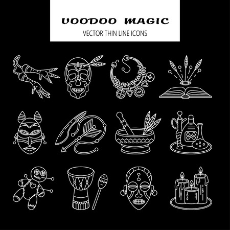 religion  herb: Voodoo African and American magic vector line icons. Voodoo doll, skull, chicken foot, necklace, poison, candles, drums, book a machete. Illustration