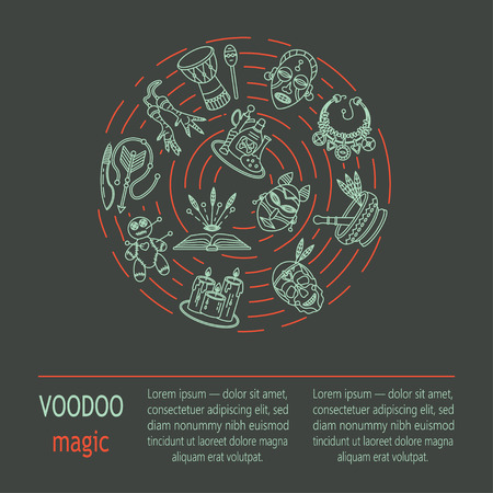 religion  herb: Modern card with voodoo magic vector line icons. Voodoo doll, skull, chicken foot, necklace, poison, candles, drums, book a machete. Illustration
