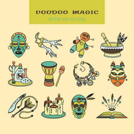 religion  herb: Voodoo African and American magic vector  . Color line icons of voodoo doll, skull, chicken foot, necklace, poison, candles, drums, book a machete.