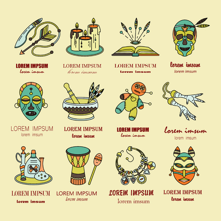 machete: Voodoo African and American magic vector  . Line icons of voodoo doll, skull, chicken foot, necklace, poison, candles, drums, book a machete.
