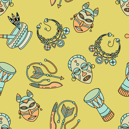 voodoo: Seamless pattern with voodoo African and American magic vector symbols. Illustration