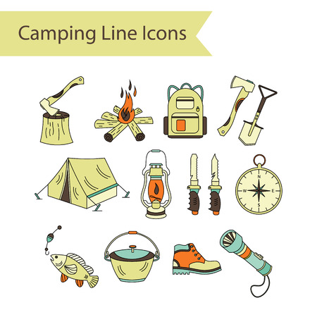 wood fire: Camping holiday vector line icons. Color vector icon. Wood, fire, kerosene lamp, lantern, tent, knife, backpack, fishing, compass, shoes. Illustration