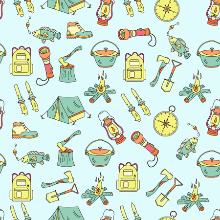 wood fire: Camping holiday seamless vector pattern with color symbols - wood, fire, kerosene lamp, lantern, tent, knife, backpack, fishing, compass, shoes.