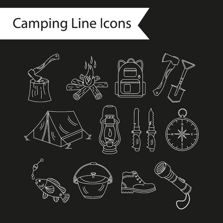 wood fire: Camping holiday vector line icons. White liner vector icons - wood, fire, kerosene lamp, lantern, tent, knife, backpack, fishing, compass, shoes.