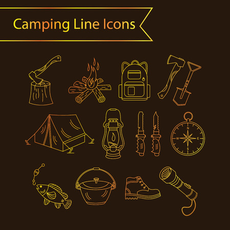 wood fire: Camping holiday vector line icons. Golden liner vector icons - wood, fire, kerosene lamp, lantern, tent, knife, backpack, fishing, compass, shoes. Illustration