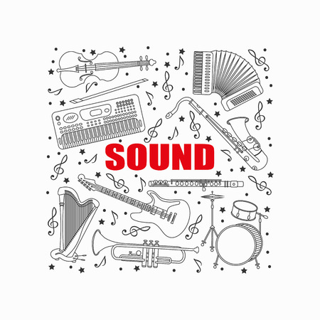 accords: Unique illustration with different music instruments synthesizer, drums, accordion, violin, trumpet, harp, drum, saxophone, electric, guitar, flute. Place for your text.