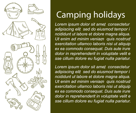 wood fire: Camping holiday vector card with line icons. Wood, fire, kerosene lamp, lantern, tent, knife, backpack, fishing, compass, shoes. Illustration