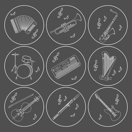 accords: Vector thin line icons with different music instruments synthesizer, drums, accordion, violin, trumpet, harp, drum, saxophone, electric, guitar, flute.