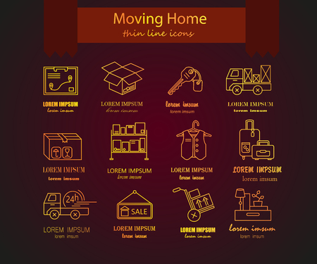 home moving: Warehouse logistic golden thin line icons. Moving home, moving house business services  . Vector thin line icons.