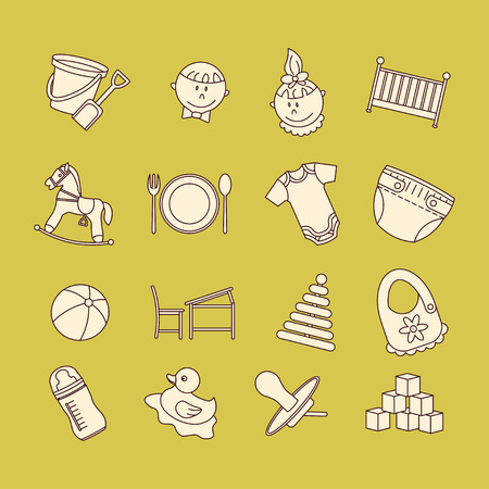Child and baby care center color thin line icons. Kindergarten vector  . Diaper, sandpit, slide, horse, ball, bottle, crib, pacifier.