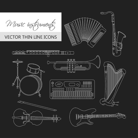 flute music: Vector thin line icons with different music instruments: synthesizer, drums, accordion, violin, trumpet, harp, drum, saxophone, electric, guitar, flute, piano Illustration