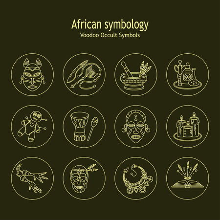 machete: Voodoo African and American magic vector line icons. Voodoo doll, skull, chicken foot, necklace, poison, candles, drums, book a machete. Illustration