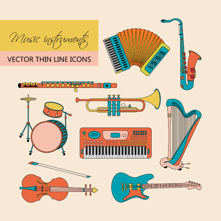 accords: Vector thin line icons with different music instruments: synthesizer, drums, accordion, violin, trumpet, harp, drum, saxophone, electric guitar, flute, piano. Illustration