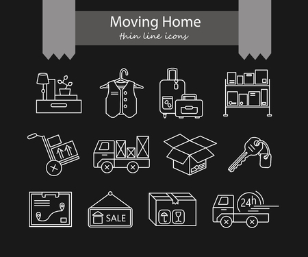 home moving: Warehouse logistic thin line icons. Moving home, moving house business services  . Vector thin line icons.