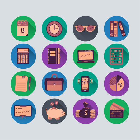 auditing: Bookkeeping vector flat icons. Finance, accounting and auditing, economic, business symbols. Business illustration