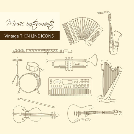 accords: Vector thin line icons with different music instruments synthesizer, drums, accordion, violin, trumpet, harp, drum saxophone electric guitar flute piano