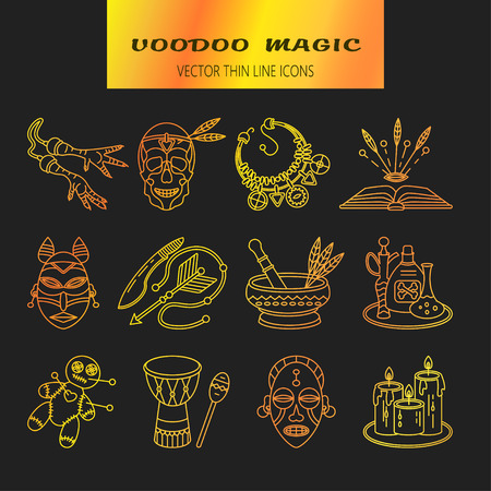 machete: Voodoo African and American magic vector line icons. Voodoo doll, skull, chicken foot, necklace, poison, candles, drums, book a machete Illustration