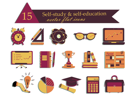 perseverance: Self study and education themed icons set. Flat style vector illustrations - calculator, atom, cup, suitcase, notebook, book, glasses, planner lamp clock Illustration