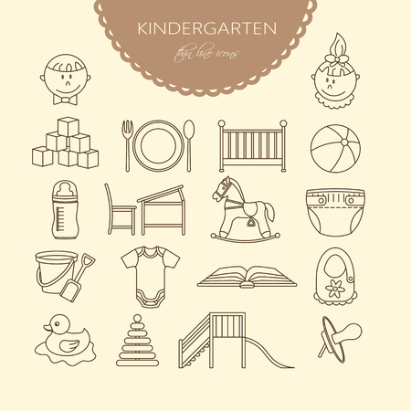 child care: Child and baby care center thin line icons. Kindergarten vector  . Diaper, sandpit, slide, horse, ball, bottle, crib pacifier