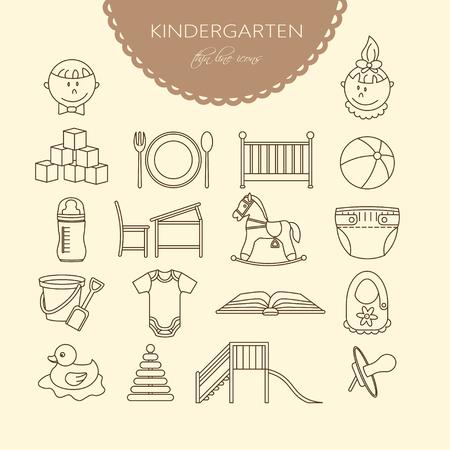 horse care: Child and baby care center thin line icons. Kindergarten vector  . Diaper, sandpit, slide, horse, ball, bottle, crib pacifier